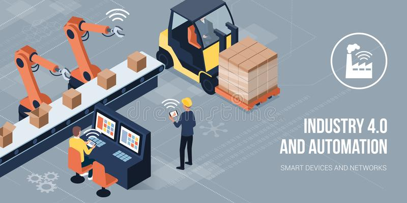 Industry 4.0 and automation vector illustration