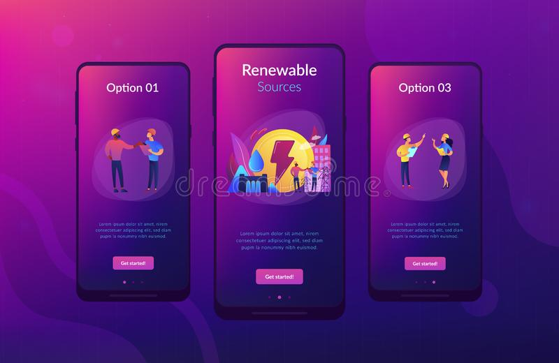 Hydropower app interface template. Engineers working at hydropower dam producing falling water energy. Hydropower electricity, water power, renewable sources vector illustration