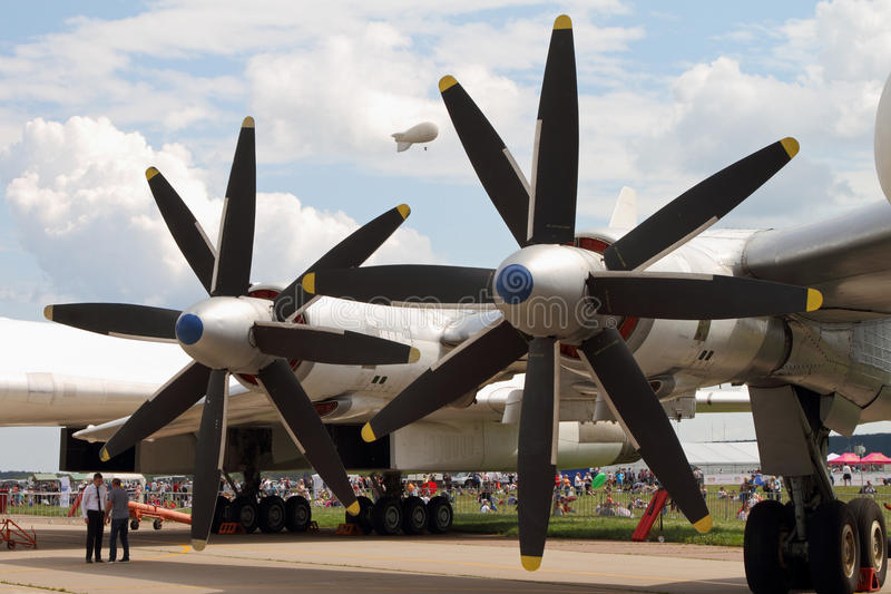 Engines and aircraft propellers bomber TU-95MS at the International Aviation and Space Salon (MAKS) in Zhukovsky. royalty free stock image