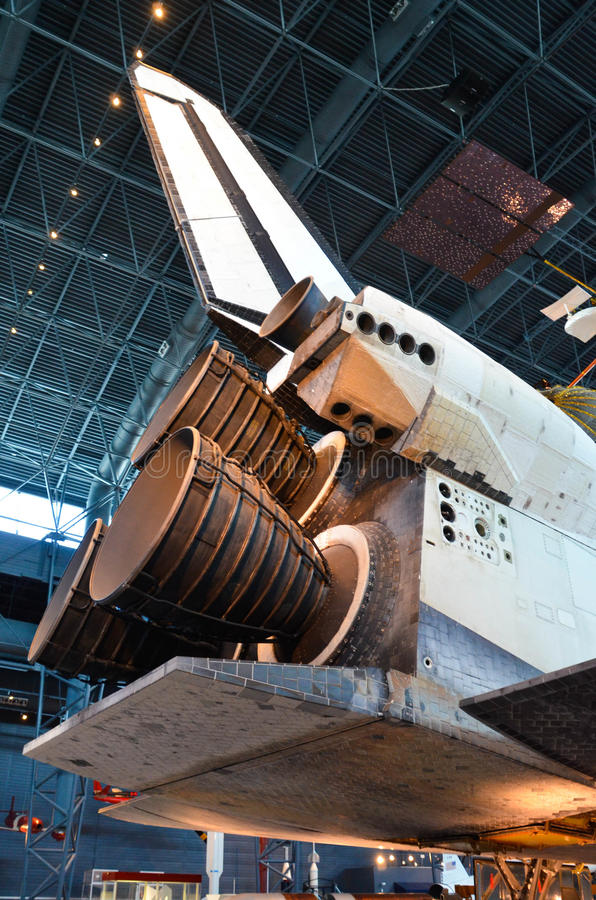 Engines of the Discovery Space Shuttle. Main rocket engines of the Discovery Space Shuttle on display at the Udvar-Hazy hangar of the Smithsonian Air & Space royalty free stock image