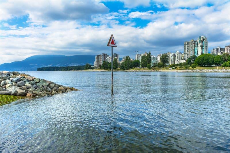 Engish fjärd Fraser River Vanier Park Vancouver British Columbia C fotografering för bildbyråer