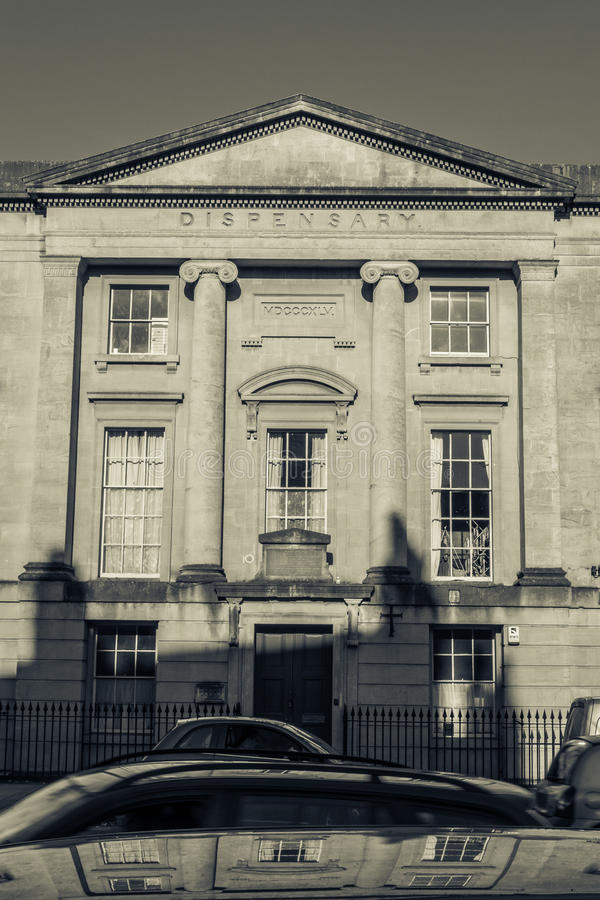 ENGLAND, BATH - 29 SEP 2015: Dispensary Building, black and whit. E photography, split toning stock image