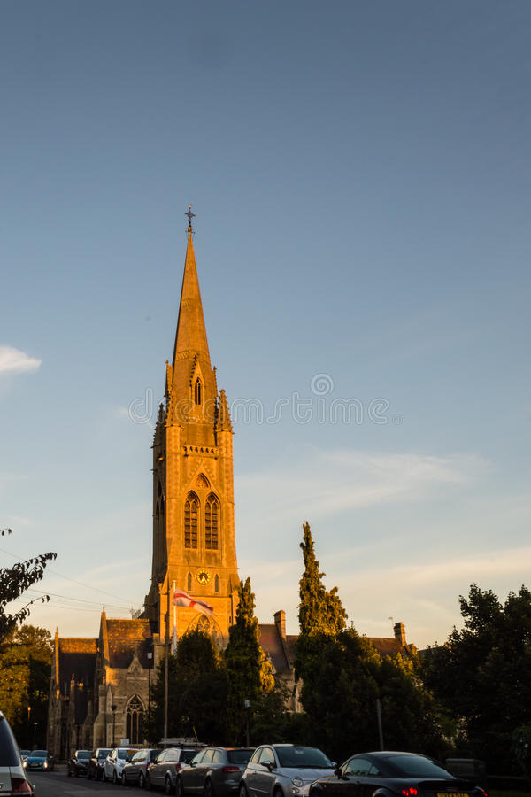 ENGLAND, BATH - 29 SEP 2015: St John the Evangelist, Catholic Ch. Urch, sunset facade royalty free stock image