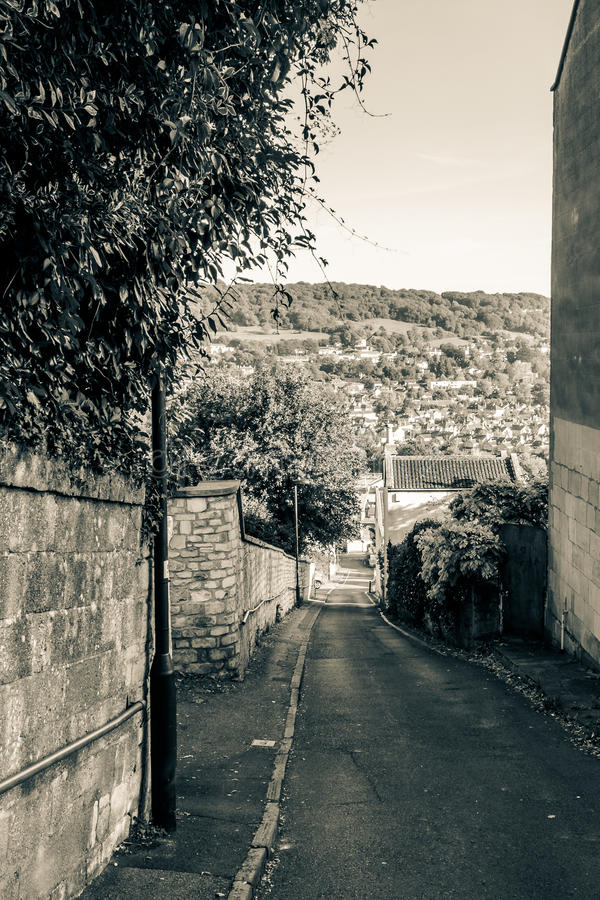 ENGLAND, BATH - 29 SEP 2015: Street in Bath, view from top, blac. K and white photography, split toning stock photos