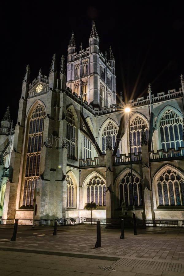 ENGLAND, BATH - 20 SEPTEMBER 2015: Bath Abbey by night D. Night photography royalty free stock photo
