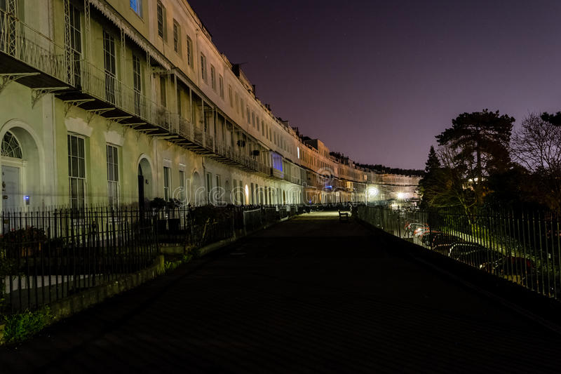 ENGLAND, BRISTOL - 21 APRIL 2015: Royal York Crescent Clifton by. Night stock images