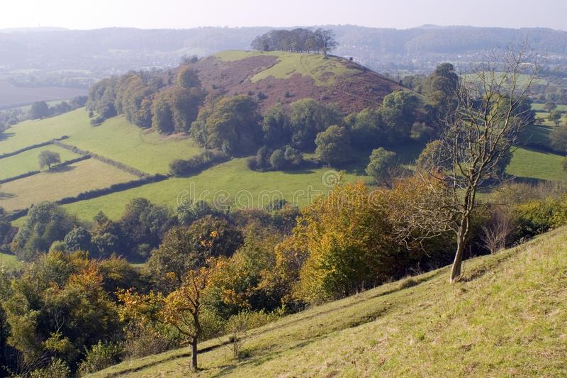 UK, Cotswolds, Uley Bury. England, Cotswolds, Gloucestershire, Uley Bury, autumn colour view from hilltop royalty free stock images