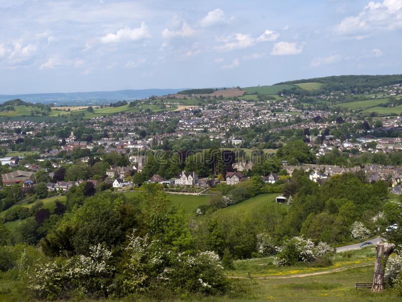 Scenic Gloucestershire, Stroud Valleys. England, Cotswolds, Gloucestershire, view over Stroud and its valleys from Rodborough Common stock images