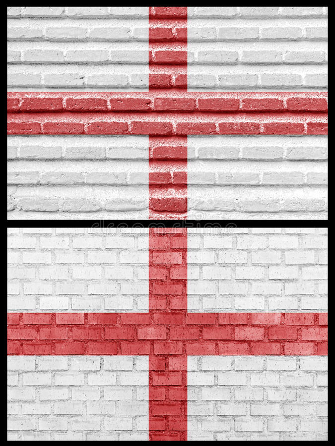 England Flag On Different Brick Walls Stock Photo