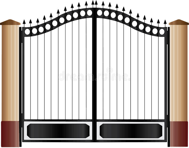 Gate in new architecture. With white backgrounder vector illustration