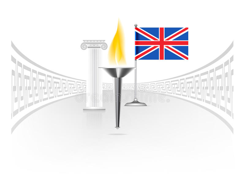 Download England flag with torch stock vector. Illustration of ionic - 25776636