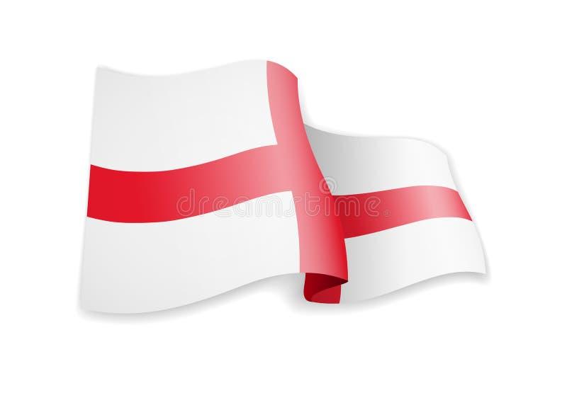 England-Flagge im Wind Flagge auf wei?er Vektorillustration lizenzfreie abbildung