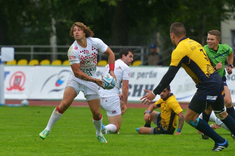 England gegen Rumänien im Rugby 7 Grand- Prixreihe in Moskau lizenzfreies stockfoto
