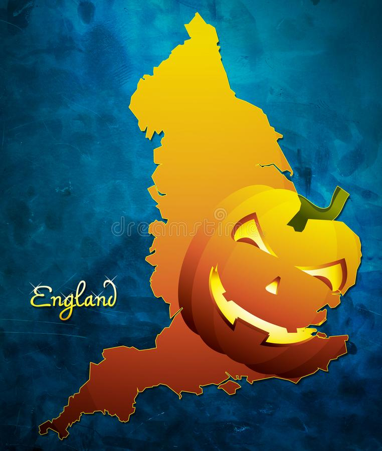 England halloween översiktsillustration med pumpaframsidan stock illustrationer