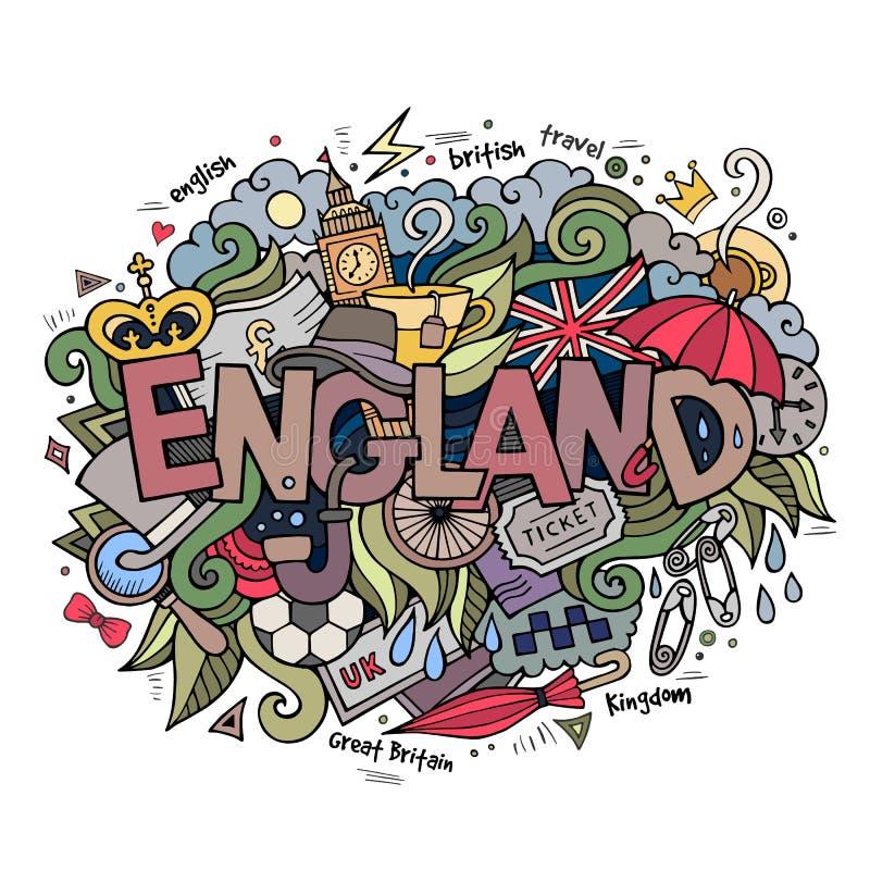 England handbokstäver och klotterbeståndsdelar vektor illustrationer