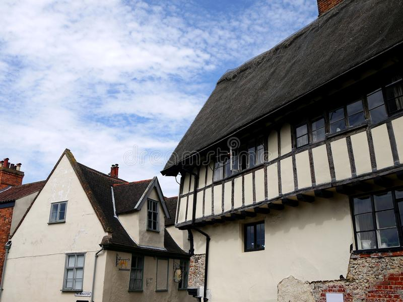 England: historic cottages in Norwich. Tudor-era historic cottages and shops in Norwich, England royalty free stock photography