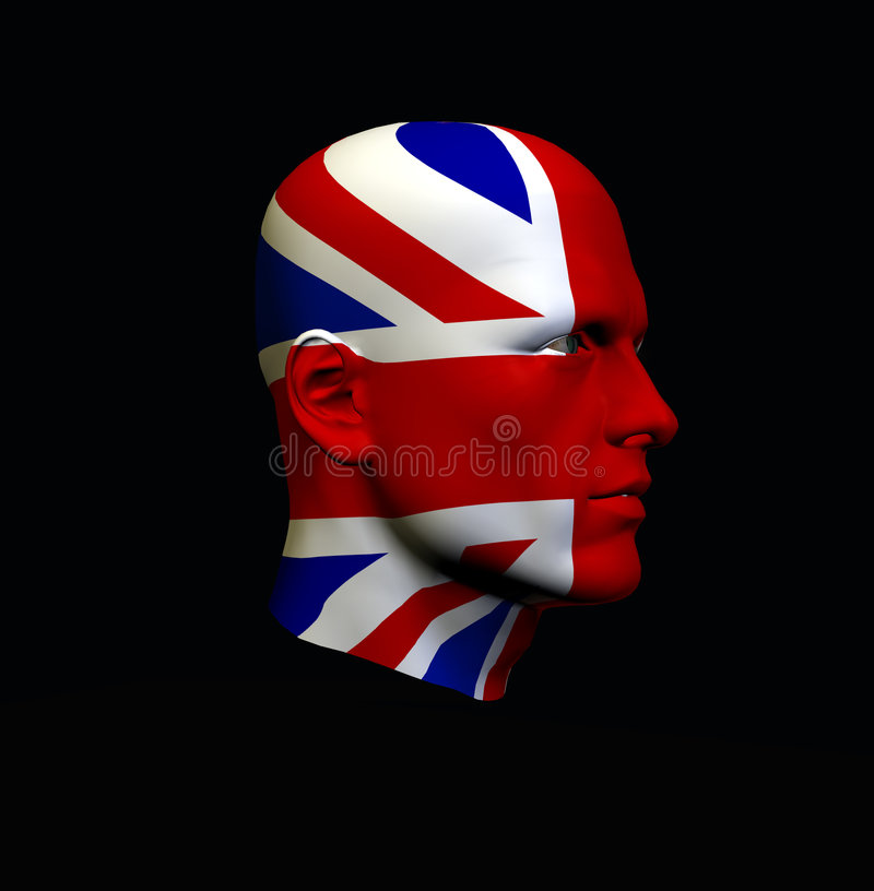 England huvud 3 stock illustrationer