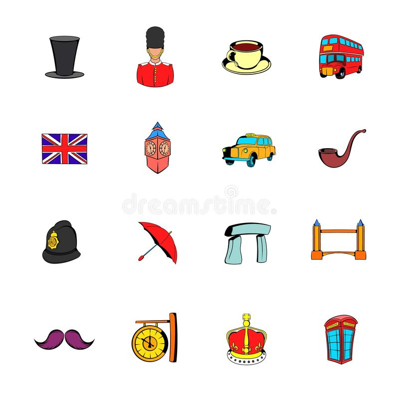 Download England icons set cartoon stock vector. Image of landscape - 88202853