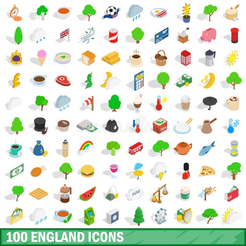 100 england icons set, isometric 3d style stock illustration