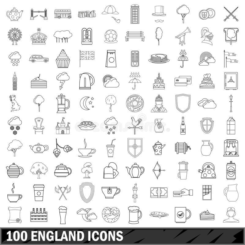 100 England icons set, outline style royalty free illustration