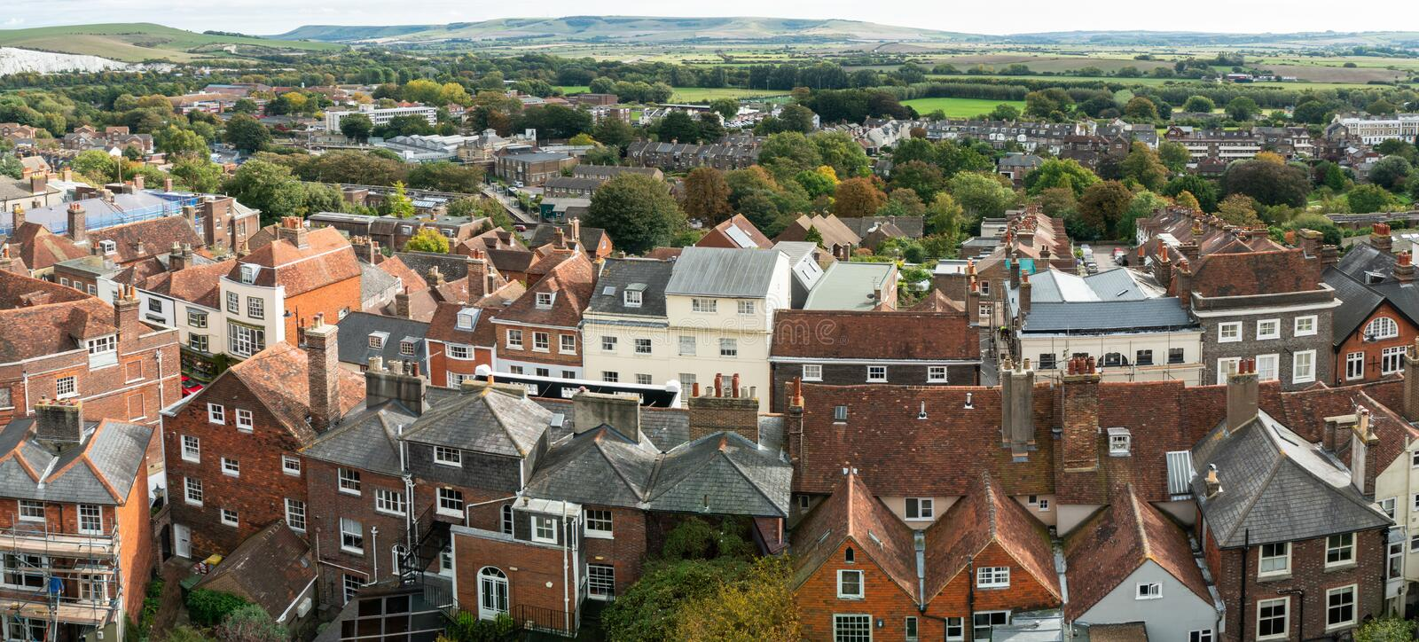 England landscape panorama of Lewes Castle, East Sussex county town in top view. The old vintage historical for visit, travel, learn and sightseeing royalty free stock images