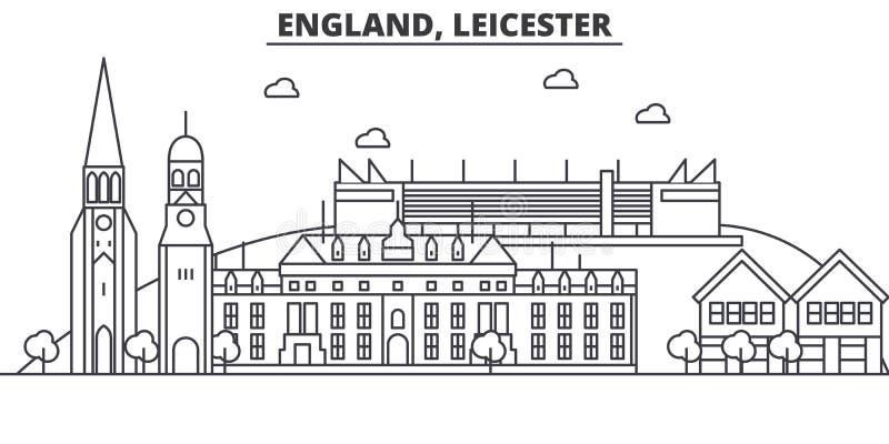 England Leicester arkitekturlinje horisontillustration Linjär vektorcityscape med berömda gränsmärken, stad siktar stock illustrationer