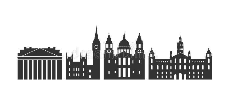 England-Logo Lokalisierte englische Architektur auf weißem Hintergrund stock abbildung