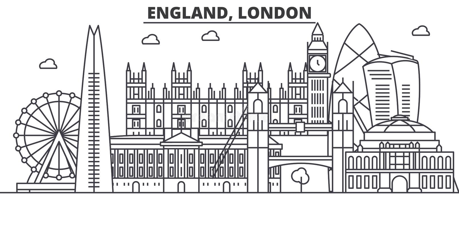 England, London architecture line skyline illustration. Linear vector cityscape with famous landmarks, city sights stock illustration