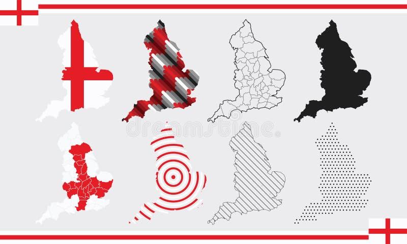 England Map Vector Set stock illustration