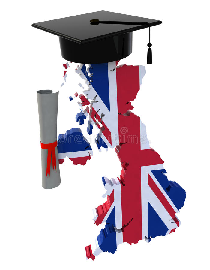 England maps with Graduation Cap and Diploma. 3d illustration royalty free illustration