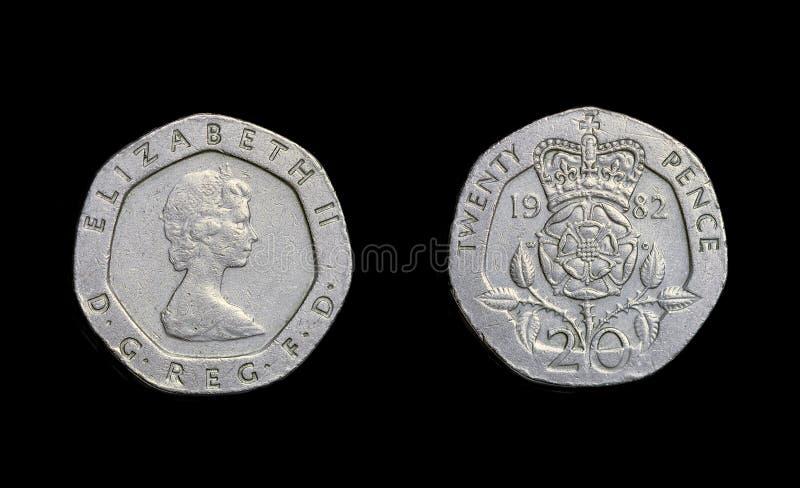 England mynt tjugo encentmynt år 1982 arkivfoton
