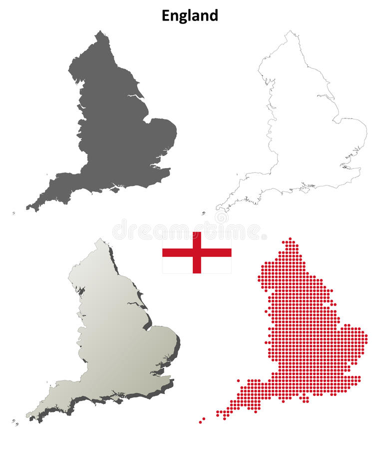 England outline map set vector illustration