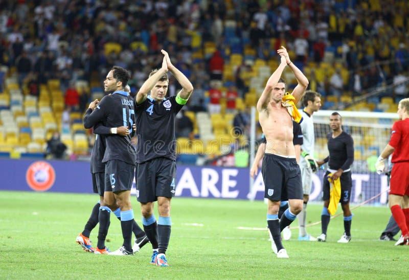 England-Spieler danken Gebläsen für Support stockbild