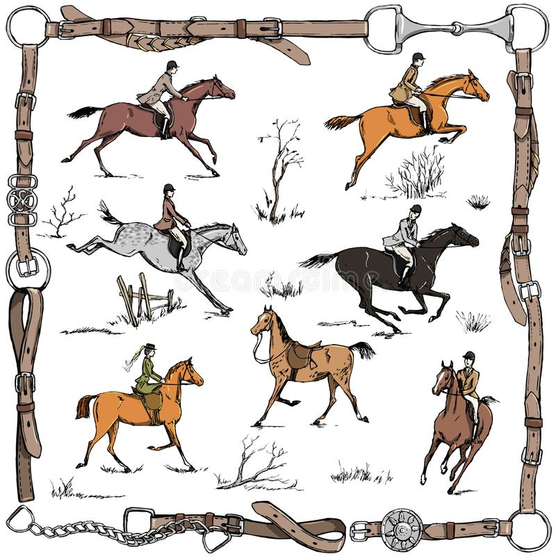 Equestrian sport fox hunting with horse riders english style on landscape. England steeplechase tradition in leather belt frame with bit, saddle, horse riding vector illustration