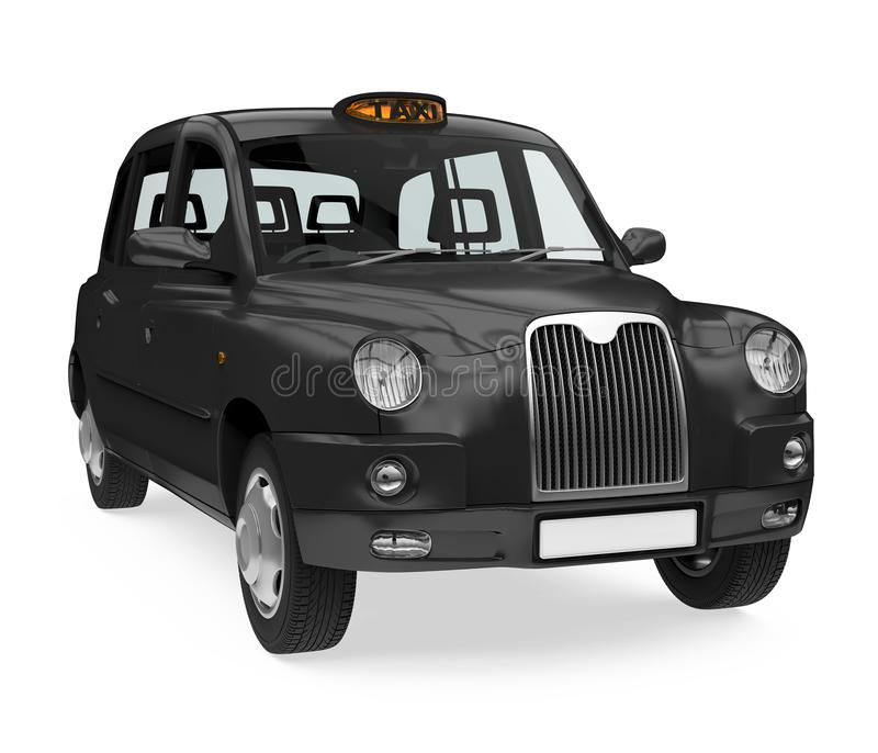 England Taxi Cab Isolated. On white background. 3D render royalty free illustration