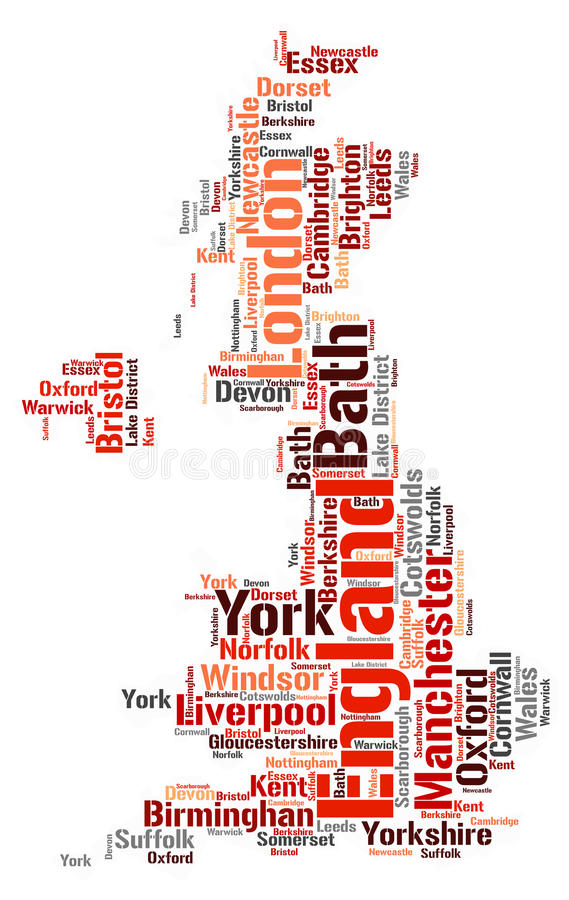 England top travel destinations word cloud. England Map silhouette word cloud with most popular travel destinations royalty free illustration
