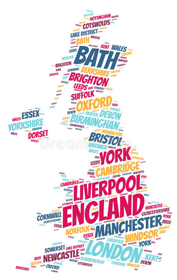 England top travel destinations word cloud. England Map silhouette word cloud with most popular travel destinations vector illustration