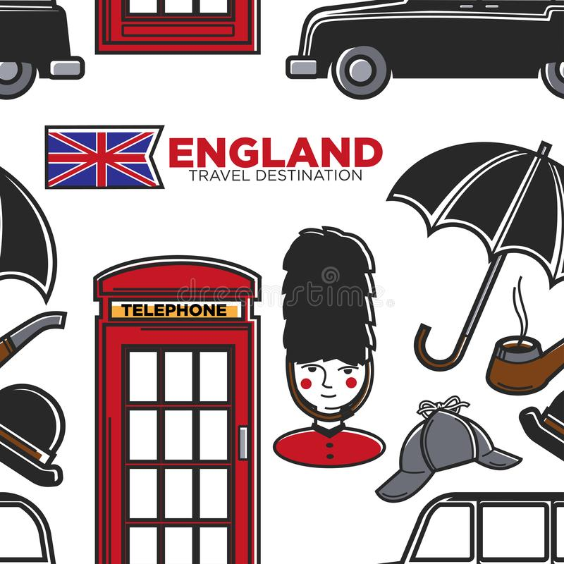 England travel destination seamless pattern English symbols. Vector Great Britain flag and umbrella royal guard and deerstalker hat telephone booth and cab stock illustration
