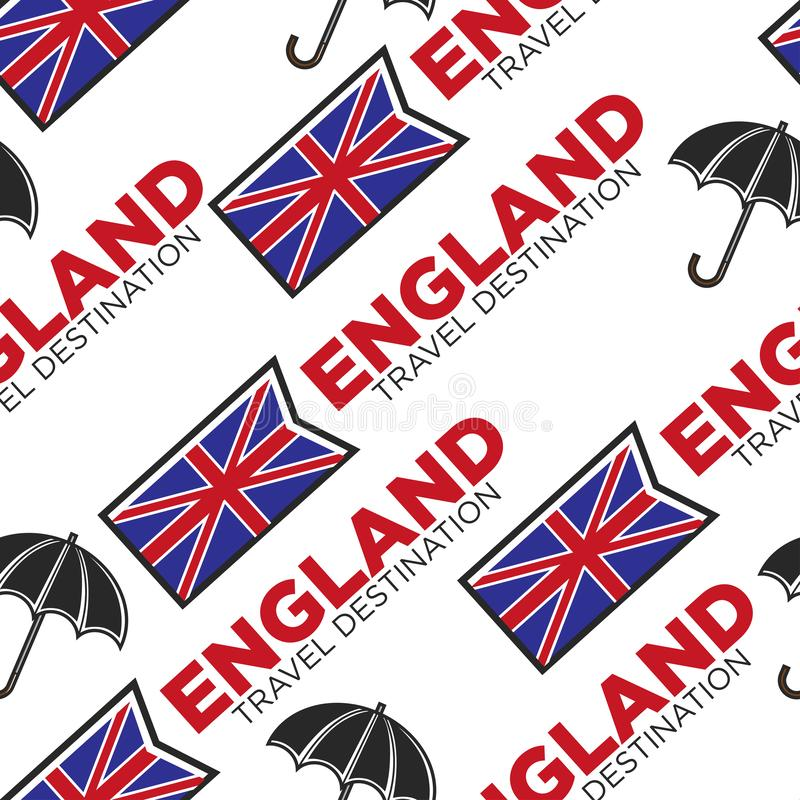 England travel destination seamless pattern national flag and umbrella vector illustration