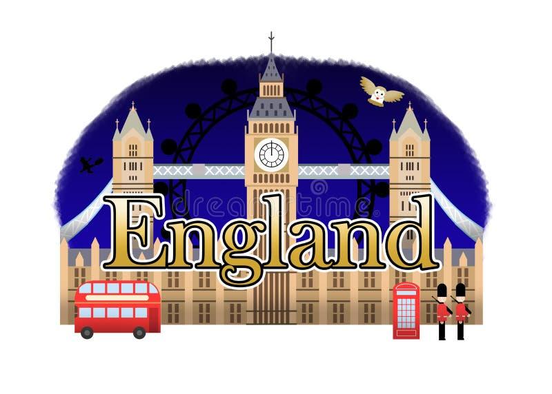 England Travel Logo. London Night stock illustration