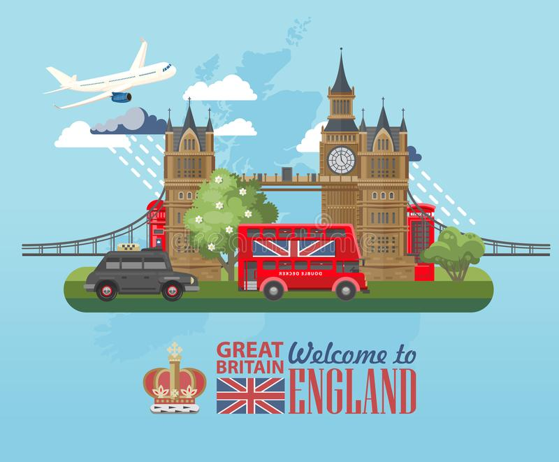 England travel vector illustration with black cab. Vacation in United Kingdom. Great Britain background. Journey to the UK. stock illustration