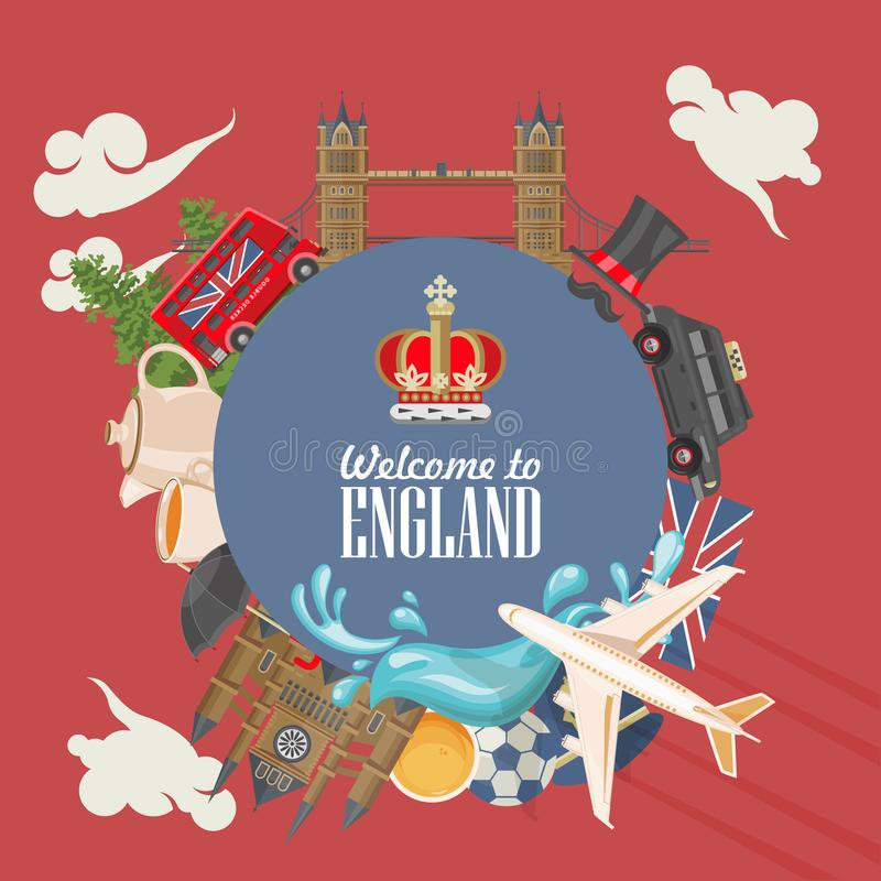 England travel vector illustration. Circle shape. Vacation in United Kingdom. Great Britain background. Journey to the UK. Colorful concepts stock illustration