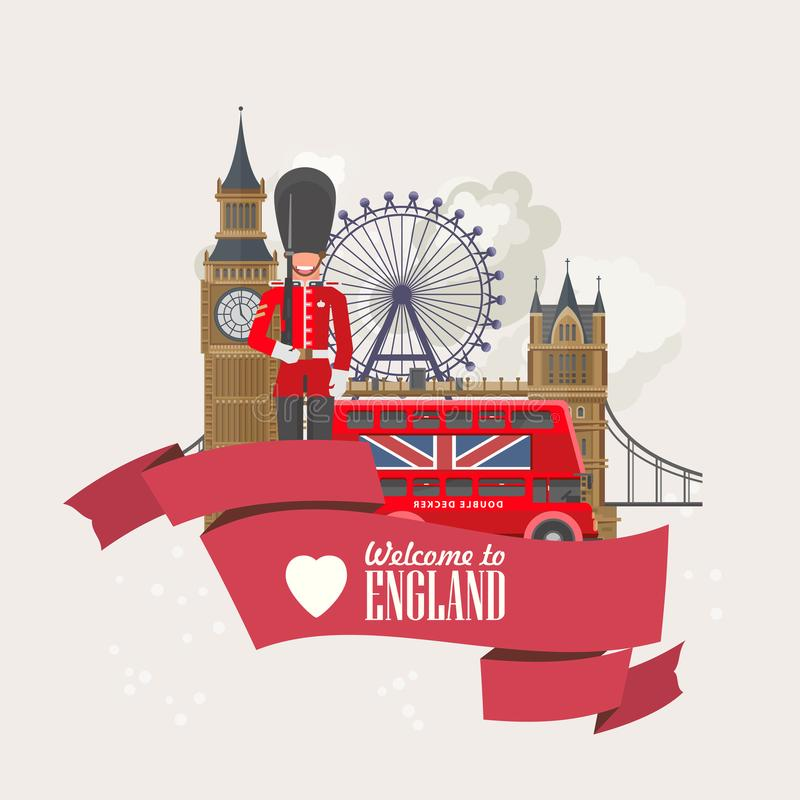 England travel vector illustration with London Eye. Vacation in United Kingdom. Great Britain background. Journey to the UK. Colorful concepts stock illustration