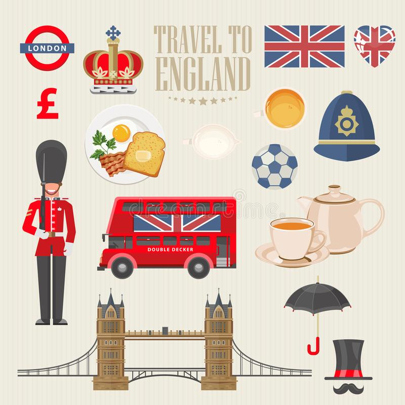 England travel vector illustration. Travel to England. Vacation in United Kingdom. Great Britain background. Journey to the UK. Colorful concepts royalty free illustration