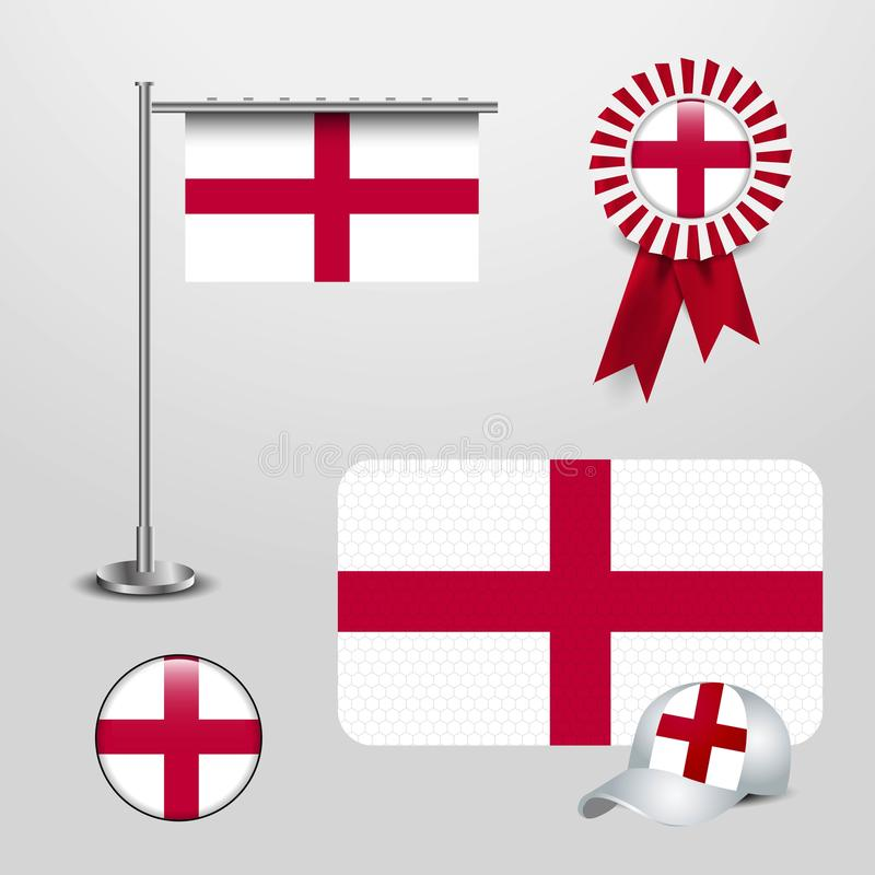 England United Kingdom Country Flag haning on pole, Ribbon Badge Banner, sports Hat and Round Button royalty free illustration