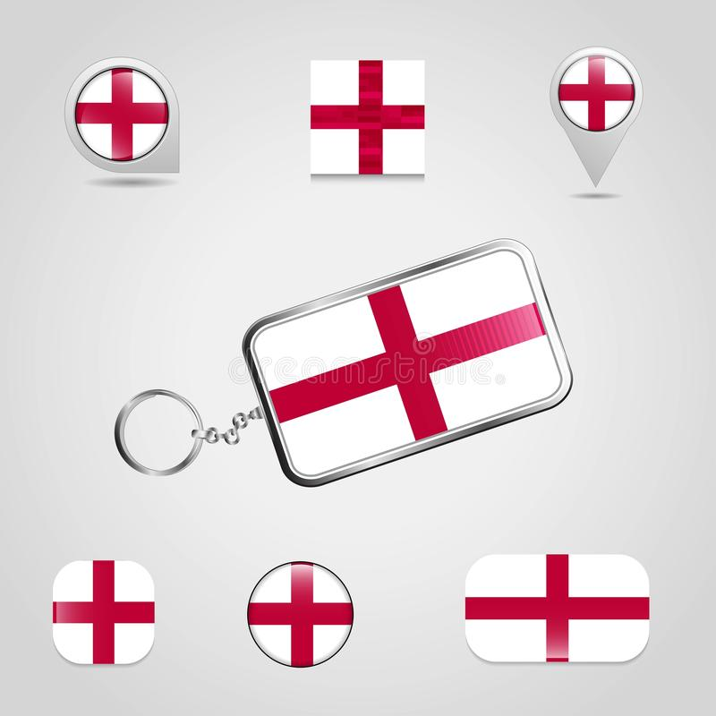 England United Kingdom Country Flag on Keychain and map pin different style. Vector EPS10 Abstract Template background stock illustration