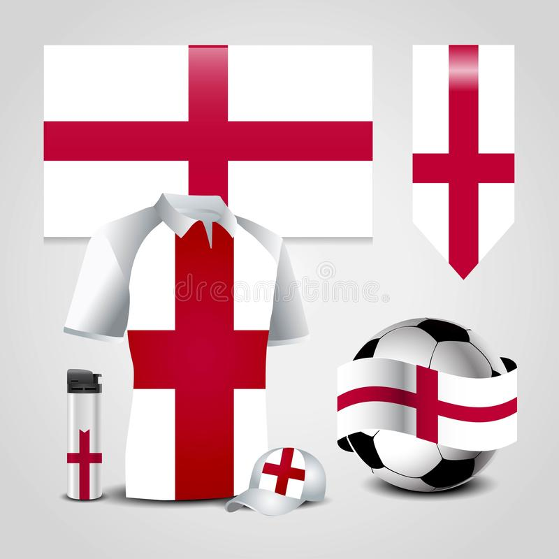 England United Kingdom Country Flag place on T-Shirt, Lighter, Soccer Ball, Football and Sports Hat stock illustration