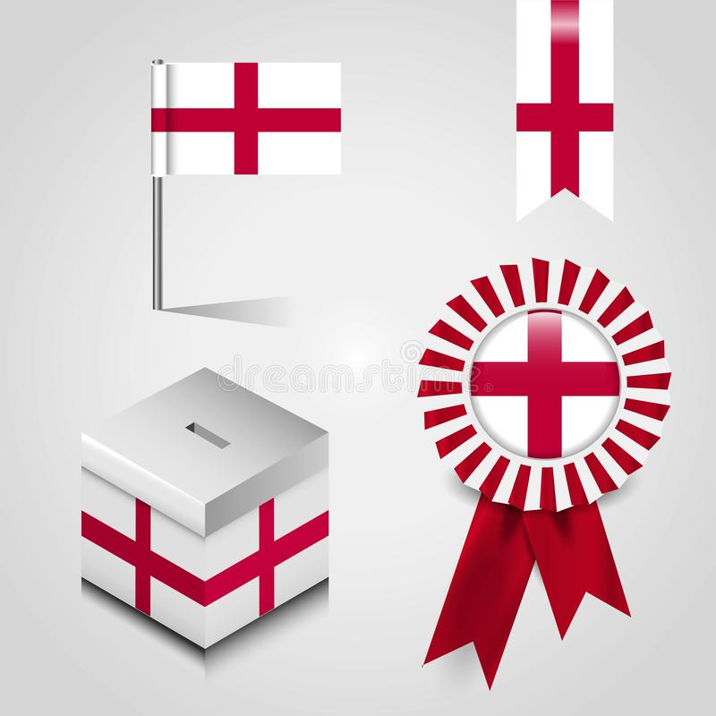 England United Kingdom Country Flag place on Vote Box, Ribbon Badge Banner and map Pin royalty free illustration