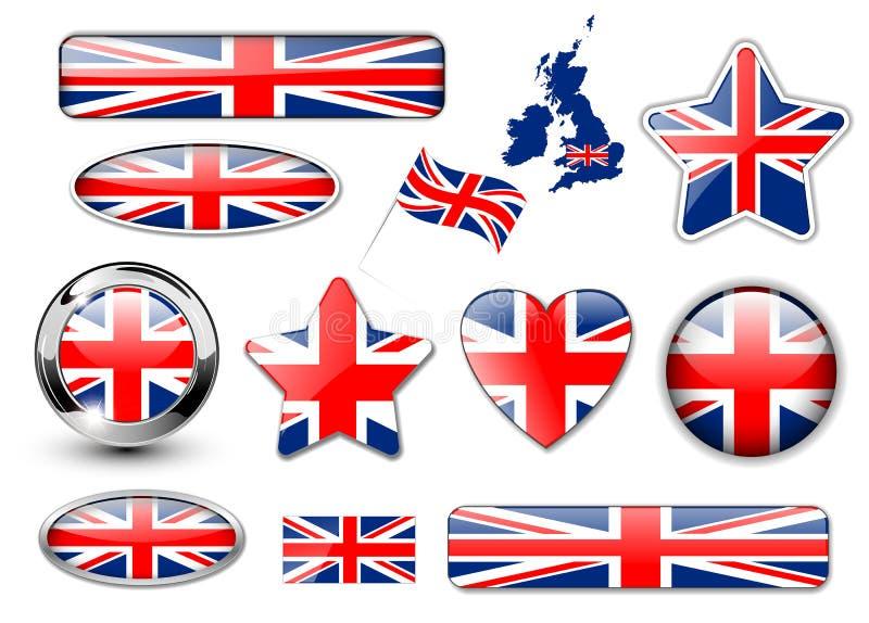 England, United Kingdom flag buttons stock illustration