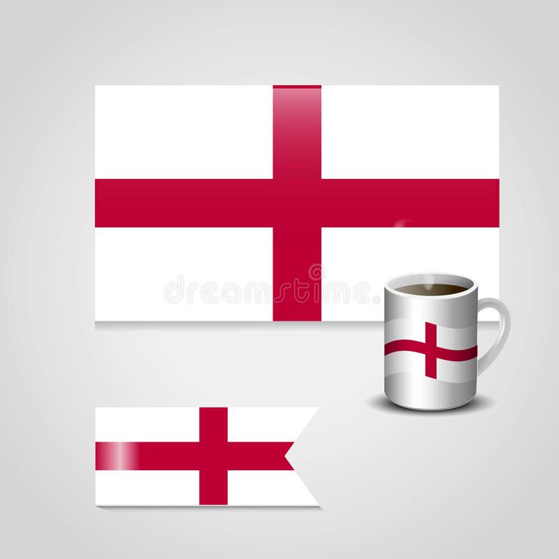 England United Kingdom Flag printed on coffee cup and small flag royalty free illustration